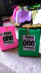 mustache theme birthday party goodie bags